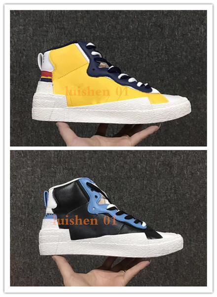2019 yeni Sacai x Blazer Orta Beyaz Siyah Legend Mavi Kaykay Ayakkabı erkek lüks Tasarımcı Moda Spor yürüyüş Ayakkabıları Retro Sneakers z04
