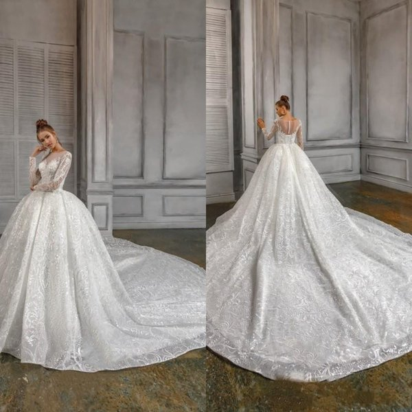 2020 Naviblue Vintage Wedding Dresses Jewel Neck Lace Applique Sequin Country Vestidos De Novia Sweep Train A Line Long Sleeve Wedding Dress