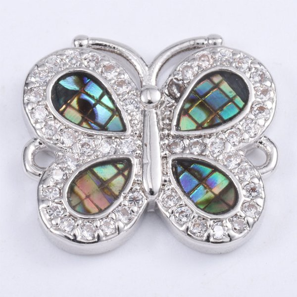 Singreal Abalone Shell Micro Pave Butterfly Charms Bracelet necklace Choker Pendant connectors for women DIY Jewelry making