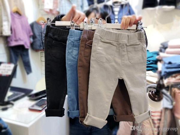 New Arrivals INS Kids Boys Trousers Tatting Fabric Fashion Casual Stylish Front Pockets Vintage Elastic Waist Autumn Children Boys Pants
