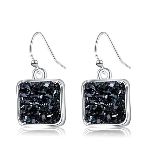 Women Earrings Crystal Cluster Love Earrings Simple Minimalist Rainstone Silver Dangles Square Natural Stone Earring Christmas Lovers Gifts