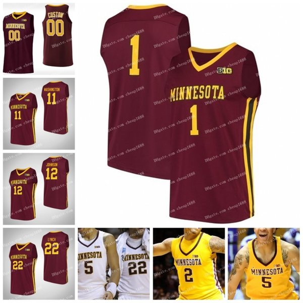 2019 Minnesota Golden Gophers #1 Dupree McBrayer #11 Isaiah Washington #22 Gabe Kalscheur #24 Eric Curry NCAA College Basketball Jersey