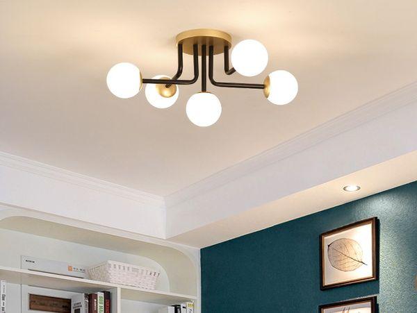 Creative Bedroom Ceiling Lamp LED Minimalist Light Luxury Living Room Lamp  Molecular Magic Bean Study Dining Room Lamp Ceiling Lighting Glass Pendant  ...