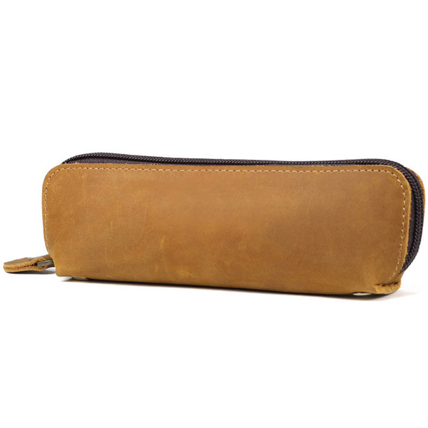 Luxury Genuine Leather Penal School Pencil Case Crazy Horse Vintage Pencilcase for Girls Boy Large Mini Pen Bag Stationery Pouch