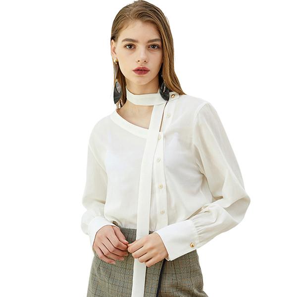 Personnalité Simple Et Élégant Oblique V-cou Streamer Bouton Décoration De Mode Femme Chemise Blanche À Manches Longues Taille S-2XL