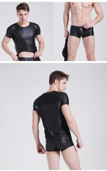 Hombres sexy camisas de cuero + Shorts Gay manga corta Slim Tight Top Hombre Undewear Casual Summer Sets