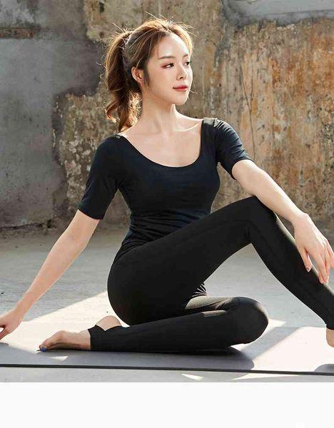 37 2019 explosion sports costume costume costume femmes nouvel été serré à manches courtes yoga vêtements deux pièces femme
