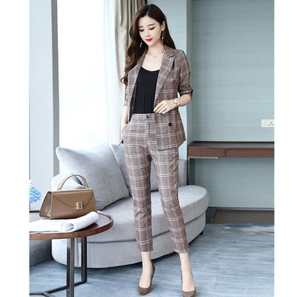 Women's suits classic fashion check women's double-breasted suit two-piece suit (jacket + pants) women's business casual suit