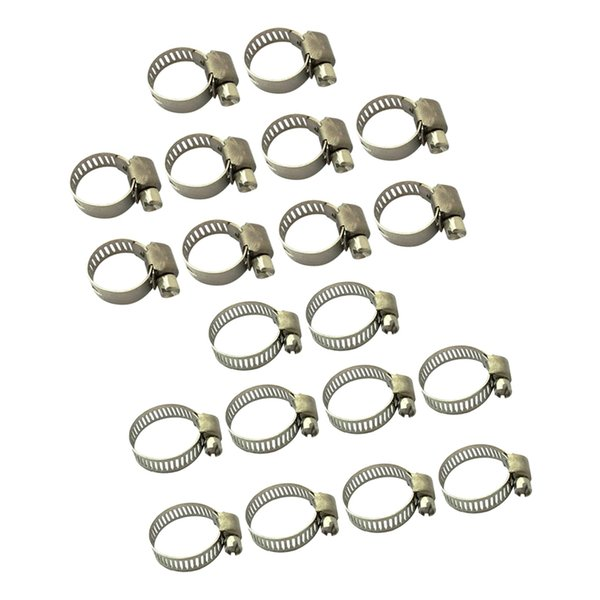 best selling 20 Piece Adjustable 10-16mm 19-29mm Range Stainless Steel Worm Gear Hose Clamps Assortment Kit