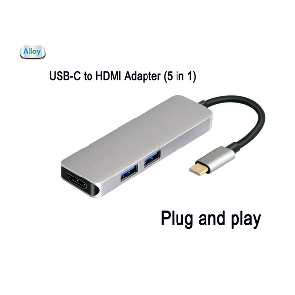 USB C Hub 5 in 1Aluminum with HDMI 4K Adapter ,microSD/SD Card,2USB 3.0 Converter for Dell XPS 13 9350, Samsung