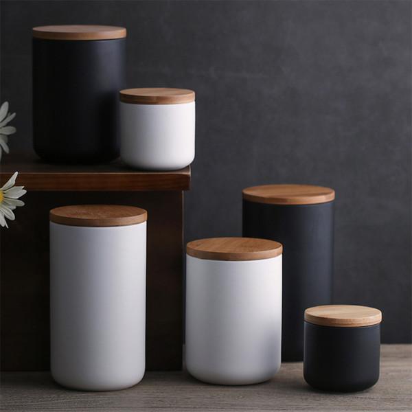 Cereales redondos para alimentos Botes de cerámica Botes de almacenamiento Sellado fuerte con tapa de bambú Prueba de humedad creativa Recoger la botella 23jb3 kk