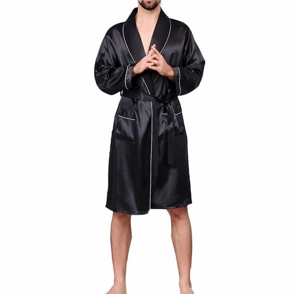 New Men Black Lounge Sleepwear Faux Silk Nightwear For Men Comfort Silky Bathrobes Noble Dressing gown Men's Sleep Robes