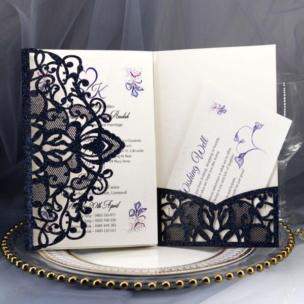 2019 Navy Blue Laser Cut Pocket Wedding Invitation Suites, Customizable Invites With Envelope Wedding Accessory Black Inner Custom