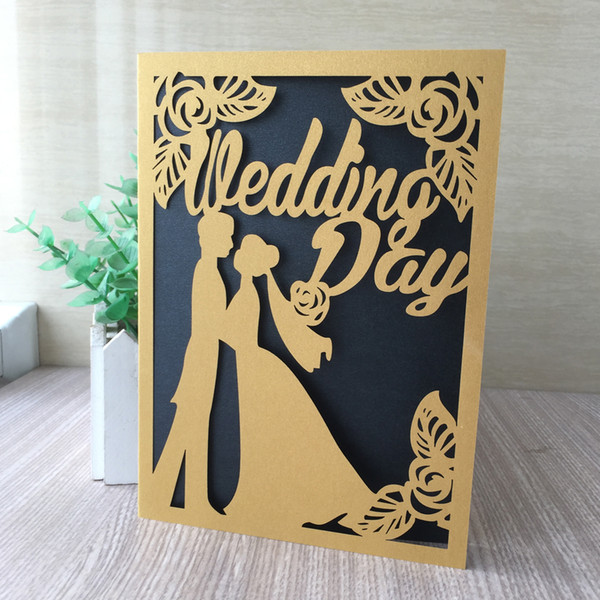 25PCS /lot Bride And Groom Wedding Ceremony Marriage Blessing Gift Cards Invitations Lovers Invitations Theme Party Supplies