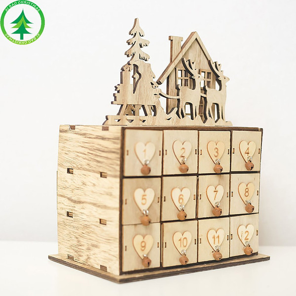 Christmas Calendar Storage Box Innovative Wooden Box Decoration Ornament Sundries Storage Jewelry