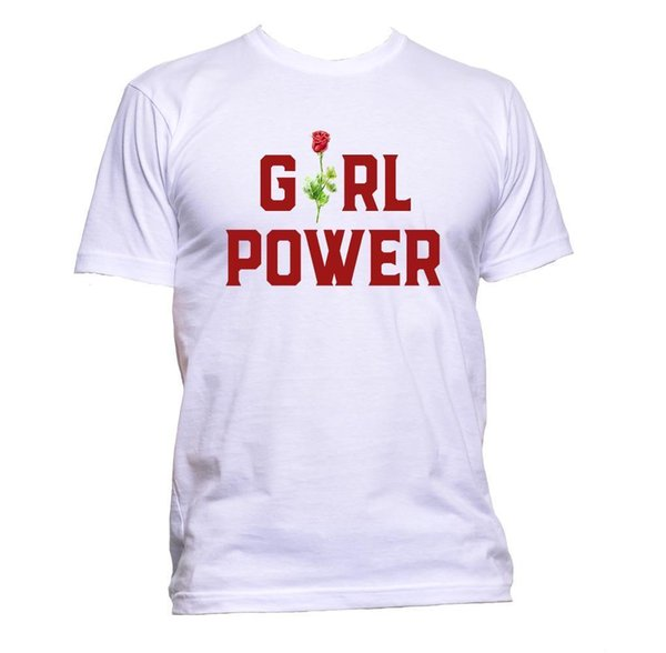 Girl Power With Rose Red Coloured T-Shirt Mens Womens Unisex Fashion Slogan Gift Size Discout Hot New Tshirt Top Free Shipping T-shirt