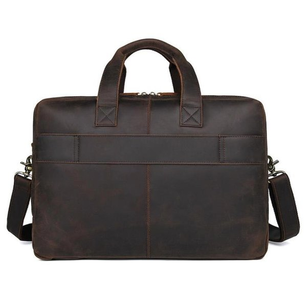 Bolso grande de estilo europeo y americano de bolsillos de negocios con bolsos de mano de cuero de piel de caballo para hombre. Maletín grande