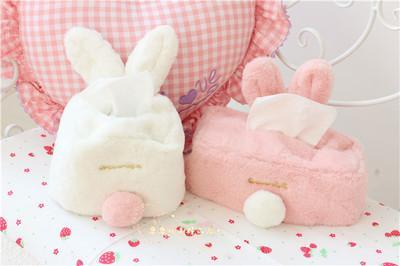 2019 sweet color pink white plush rabbit tissue box durable home car hotel sofa paper tissue holder napkin case pouch girl's gift