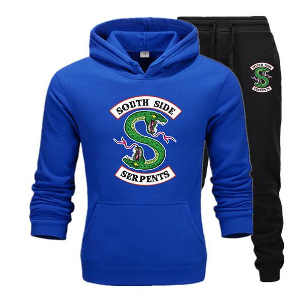 2019 New tracksuit men Two Piece Hoodies+Pants Fall / Winter Riverdale Hoodies Sweatshirts Suit Male jogging Tracksuits T1
