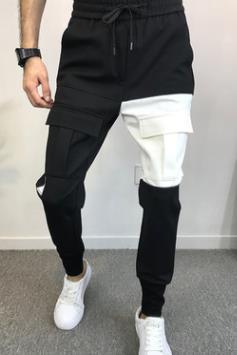Pantalon stylé pour homme avec poches design crayon pantalon taille élastique pantalon long pantalon de jogging