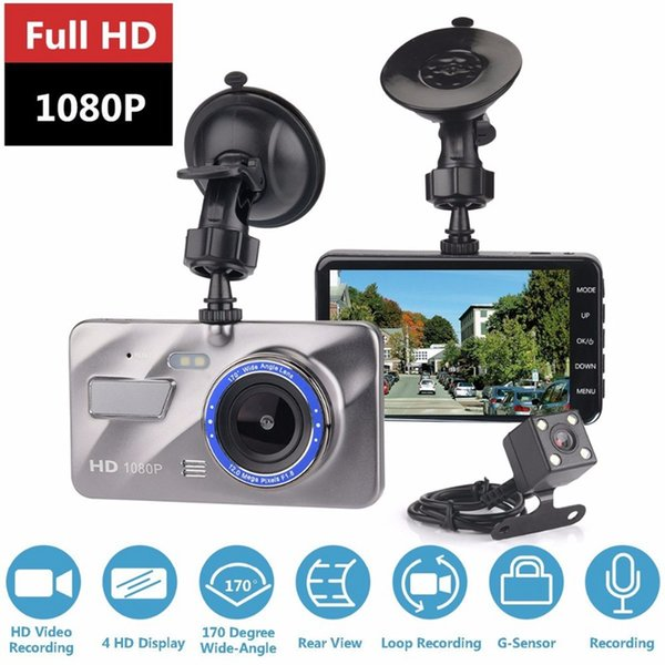 HD Car DVR 4.0 Inch Front 170 Degree Rear 120 Degree 1080p Car Dashboard Camcorder Loop Recording Parking Monitor Dashcam Video HHA145