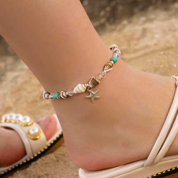 Bohemian Wind Fashion Starfish Bracelet Natural Stone Conch Bead Shell Foot Chain Ocean Beach Wind Foot Ornament