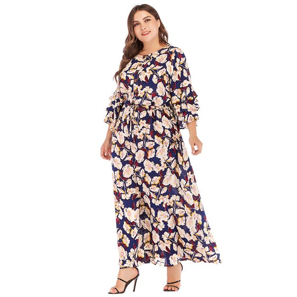 7d5f3fe7da7dc Zarif bayanlar Çiçek Elbiseler İlkbahar Yaz 2019 Katmanlı Ruffles Tek  Göğüslü Tasarım Kadınlar Baskı Elbise Maxi