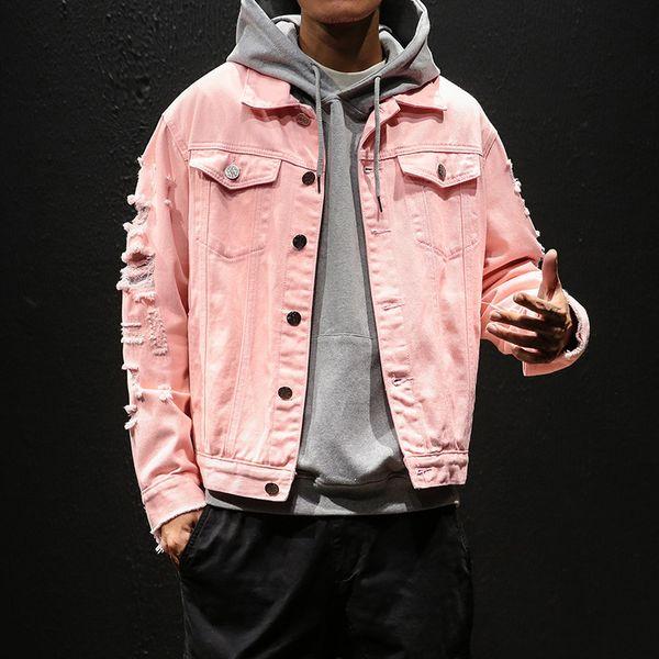 Мода Джинсовая Куртка Мужчины Розовый Разорвал Отверстия Хип-Хоп Джинсовые Куртки 2019 Стирать Мужские Джинсовые Пальто Дизайнерская Одежда Японская Уличная Одежда