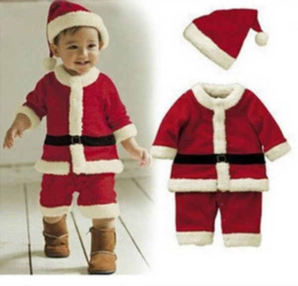 Christmas Santa Claus Red coat pants Cosplay Kids boy and agirl Children's Christmas costume cosplay baby costume suit