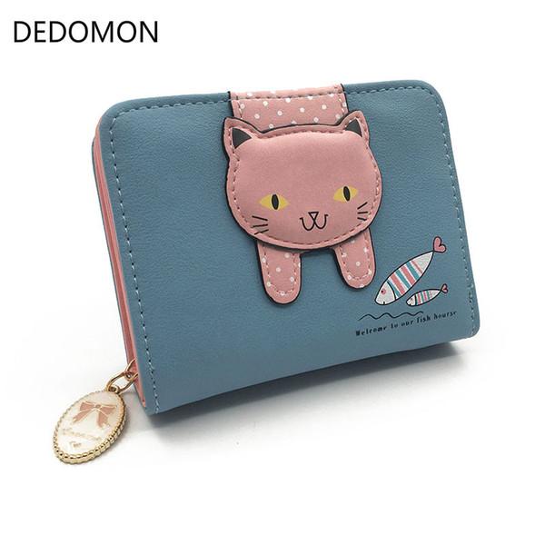 Les femmes chat mignon portefeuille petite fermeture à glissière fille portefeuille marque conçue en cuir femmes porte-monnaie porte-carte femme