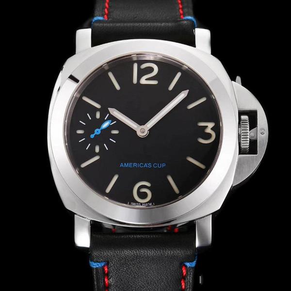 Venta al por mayor Proveedor de fábrica Relojes de lujo Acero inoxidable Dial negro Copa de América Pam00724 Pam724 cuerda manual Correa de cuero para hombre