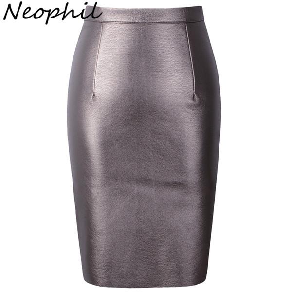 Neophil 2019 Sexy Faux Fur Leather Pu High Waist Midi Women Pencil Skirts Xxl Office Wrap Bodycon Short Girls Tutu Saia S08019 MX190714