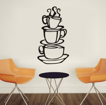 3 Coffee Cups Wall Stickers Removable Kitchen Decor Coffee House Cup Decals Vinyl Wall Sticker Home Decoration