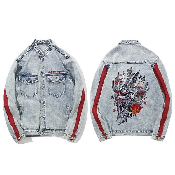 ЖЛ Harajuku вышивка Дракон куртка джинсы уличная хип-хоп мужчины старинные мыть джинсовая куртка 2018 осень Красный полосатый джинсовые куртки