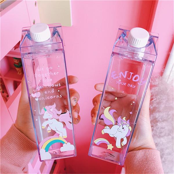 Unicorn Mini Cute Water Bottles Milk Box Shape Transparent Plastic Cartoon Pink Panther Drink Bottle Coffee Beer Drinkware