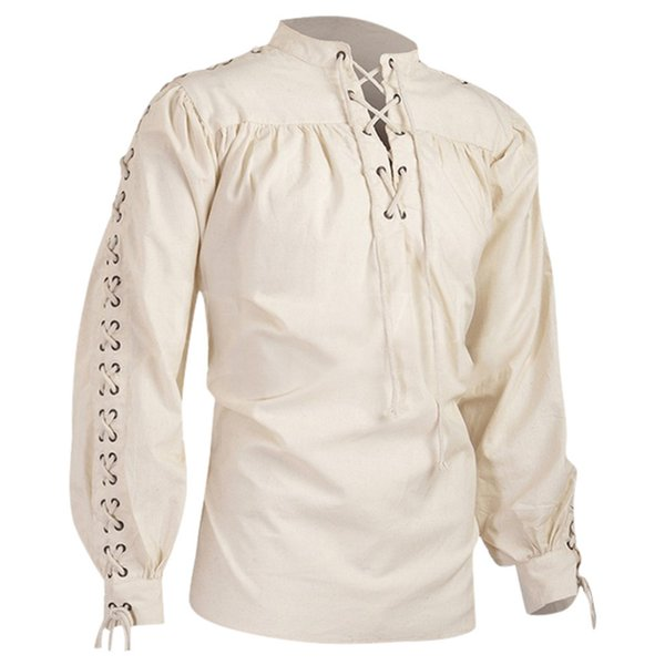 Vintage Tops Men Shirt Long Sleeve Medieval Gothic Shirts High Neck Pure Color Long Sleeve Lace UP Pullover Pleated Camisas
