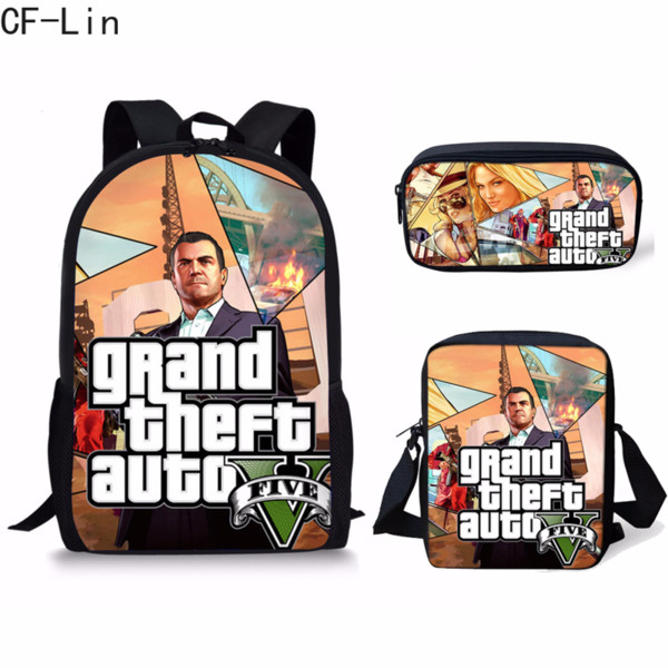 2019 New Grand Theft Auto V Hot Game Famous Design Boy Girl Schoolbags 3Pcs Set Kid Backpack Middle School Student School Bag