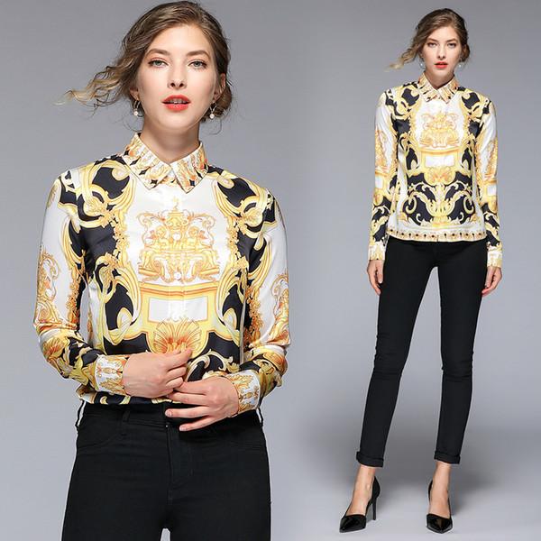 yuhanzhenbang / 2019 Runway Luxo Barroco Palácio de impressão Magro longos da luva do Womens Ladies Blusas Casual Escritório Botão de lapela Neck Tops Nova