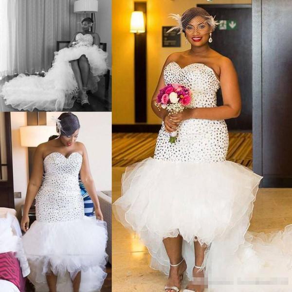 Luxe strass Sweetheart Plus La Taille Robes De Mariée Sirène 2019 Longues Volants Organza Haut Bas Robes De Mariée De Mariée