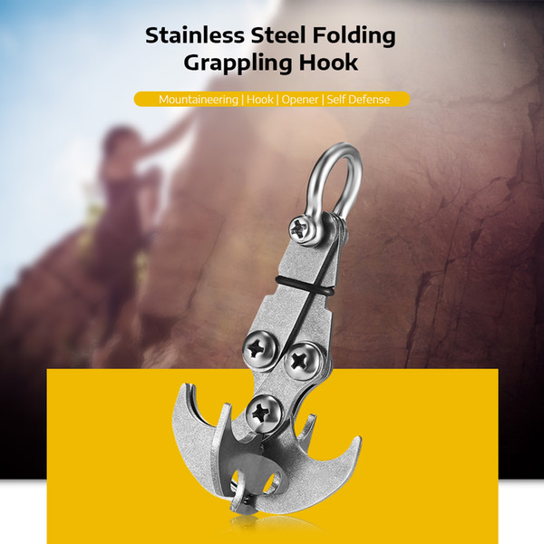 Stainless Steel Folding Gravity Hook Gravity Hook Carabiner crampons quickdraw Outdoor Grappling Claws traction Rescue EDC Tool Climbing