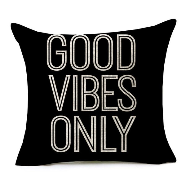 Watercolor Painting English Letters Cushion Covers GOOD VIBES ONLY Cushion Cover Sofa Throw Decorative Linen Cotton Pillow Case