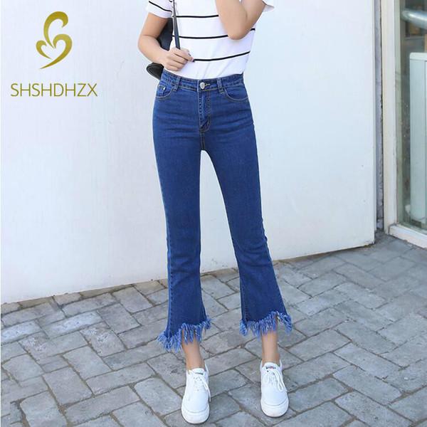 comprar online 614f8 45ccc Compre Pantalones Vaqueros De Cintura Alta Para Mujeres Con Bordes Finos  Con Flecos Nueve Puntos Horn Jeans S19713 A $31.81 Del Rui03 | DHgate.Com