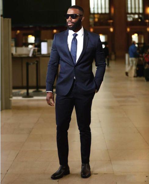 Navy Blue Groom Tuxedos Notch Lapel Slim Fit Groomsmen Wedding Tuxedos Popular Men Formal Blazer Prom Jacket Suit(Jacket+Pants+Tie) 1702