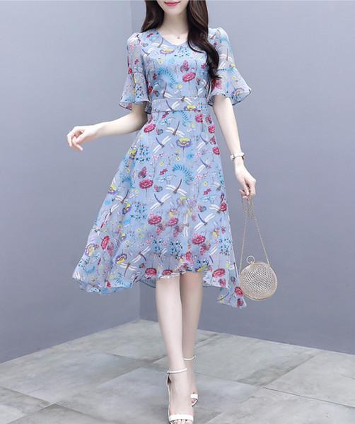Moda Abiti progettista delle donne vestiti da alta qualità con manica lunga del partito delle donne stampa floreale di lusso Abiti Streetwear 2020 New Style