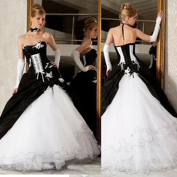 official price attractivedesigns arriving Discount Vintage Black And White Bridal Wedding Dresses 2019 Backless  Corset Victorian Gothic Plus Size Wedding Bridal Gowns Cheap In Wedding  Dress ...