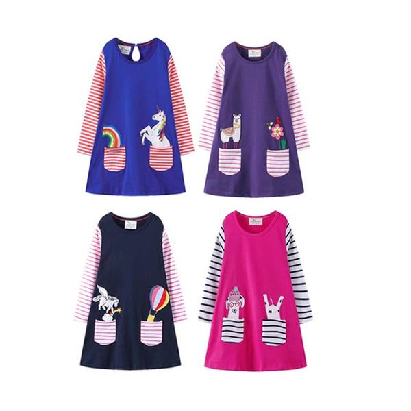 Baby Mädchen Prinzessin Kleid Kinder Designer Rock Mädchen Mit Langen Ärmeln Jersey Druck Cartoon Streifen Alpaka Rundkragen Kleid 49