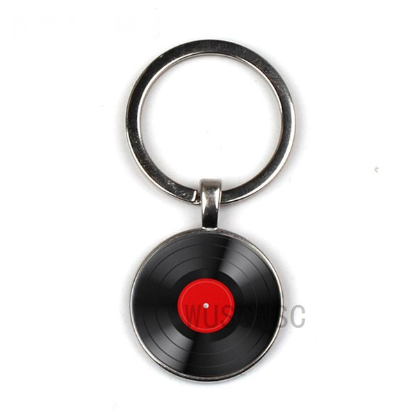 Simple classic style vinyl retro glass disc keychain music lovers gifts wholesale and retail Private custom pictures