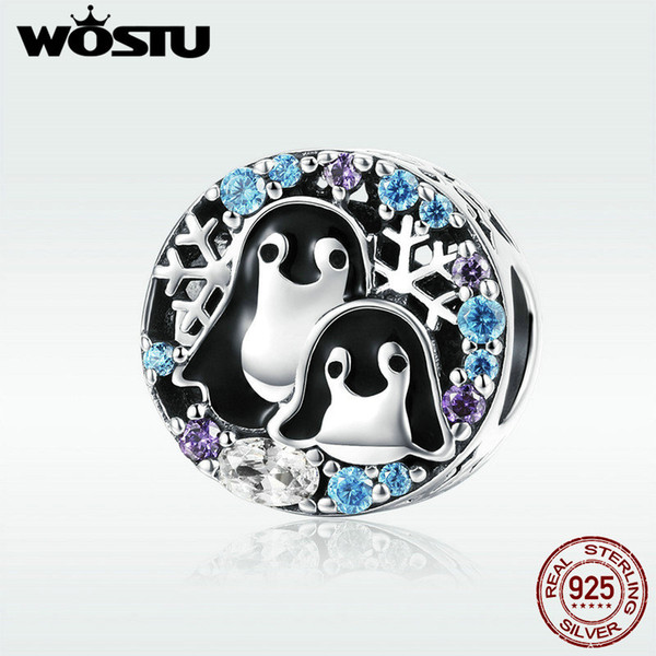 WOSTU Genuine 925 Sterling Silver Penguin Family Beads Fit Charm Bracelet & Necklace Pendant Darling Brand Jewelry Gift DXC992