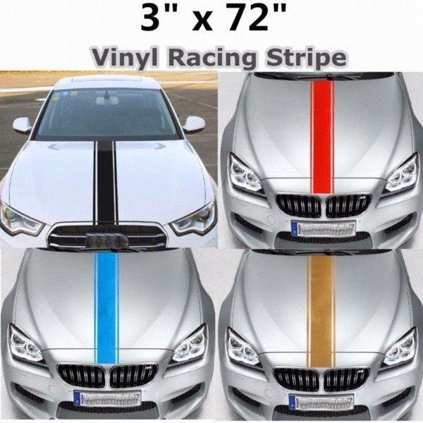 "Car Stickers and Decals Car Styling 3""x72"" 183x8 cm Car Truck SUV Racing Stripe Vinyl Hood Engine Cover DIY Stripe Decoration"