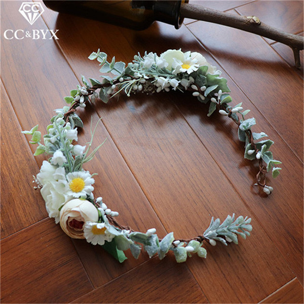 CC Engagement Jewelry Tiara Crown Fairy White Rose Leaf Wedding Hair Accessories For Bridal Seaside Beach Party Gifts Diy mq039
